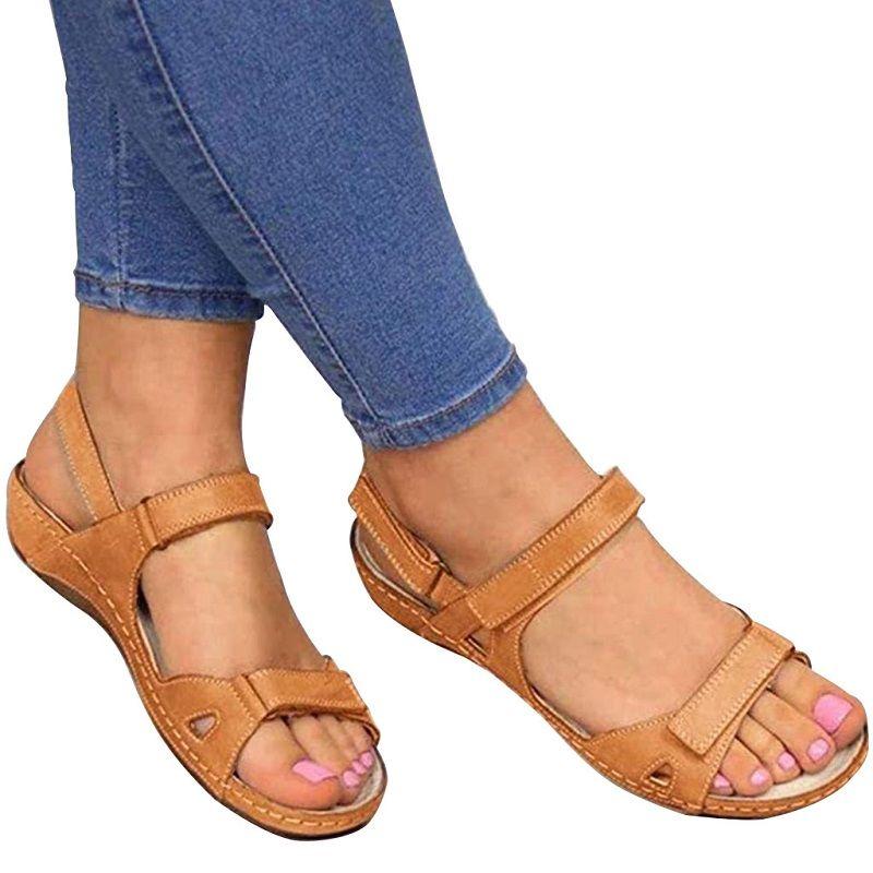 Haomigol femmes Snakeskin Sandales plates à lacets avec boucle cheville boucle Toe Low Wedge plate-forme Spartiates Sandales Thong