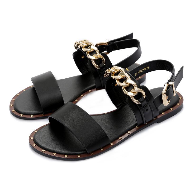 Ekoak Nuevo 2019 Moda Sandalias de cuero Mujer Verano Zapatos de vestir Mujer con cadena de metal Zapatos de playa Sandalias planas