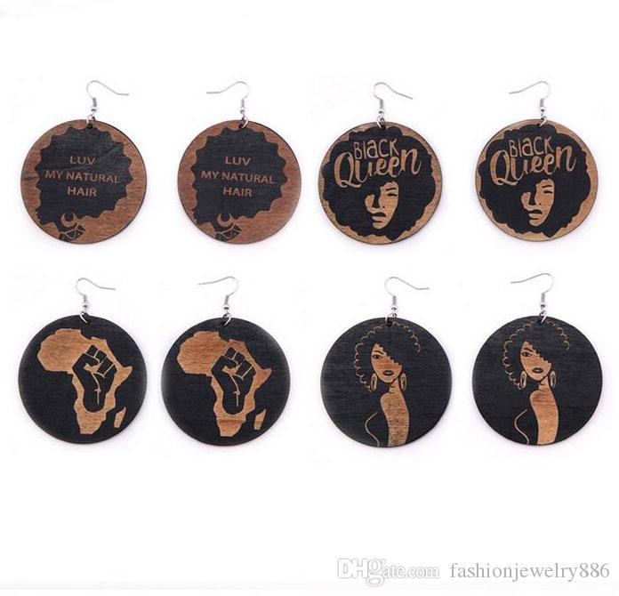 شخصية الهيب هوب رئيس أفريقيا أقراط الخشبية الهندسية الأفرو جولة الخشب قلادة سحر استرخى هوب أقراط ياردروب للنساء