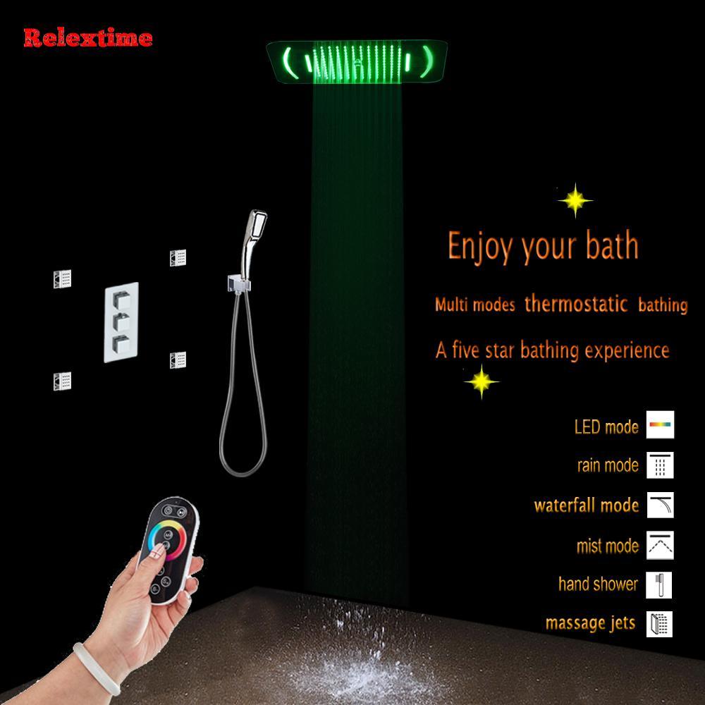 숨어서 목욕 샤워 패널 온도 조절 다기능 믹서 수도꼭지 노즐 라이트 LED 천장 샤워 헤드 비 폭포 안개 마사지 제트