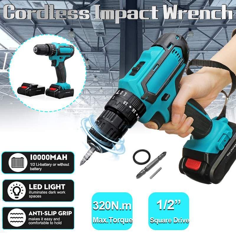 21V Elétrica Cordless Screwdriver Broca 320Nm de torque Eléctrico Máquina de perfuração Mini Broca de mão sem fio ferramenta de potência 1/2-Inch