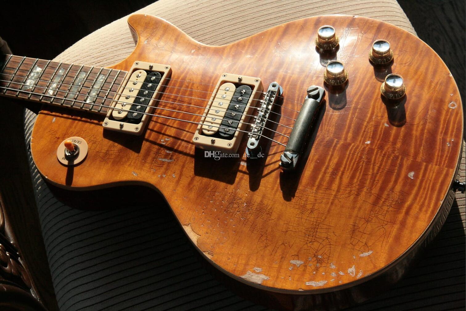 عرف مائل # 5 AFD MURPHY AGED توقيع الشهية لتدمير لهب القيقب الأعلى الثقيلة بقايا الغيتار الكهربائي قطعة واحدة الماهوجني الجسم الرقبة