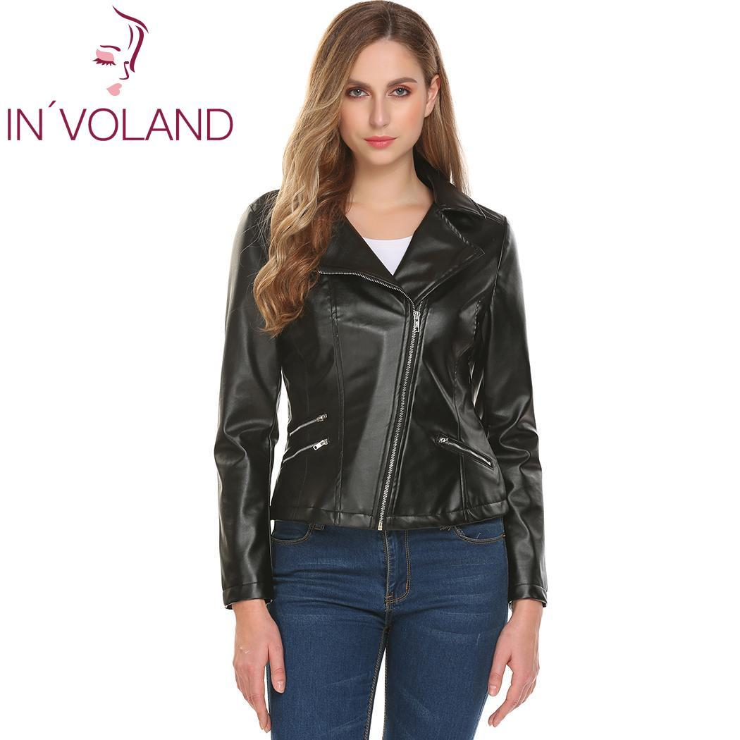 Women Turn Down Collar Zip Up Short Solid Slim Fit Zip, Pocket Motorcycle Casual, Cycling PU Leather Jacket