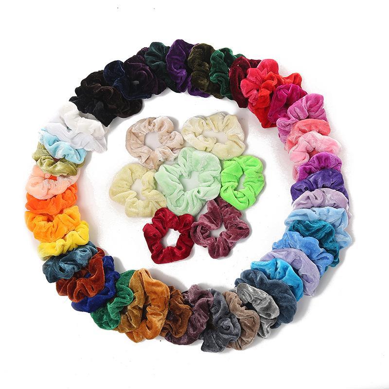 50pcs Girl Lady bandas de pelo elástico de invierno para mujer, color puro, gomas para el cabello, anillo, Bobble Sports Dance Velvet Soft Hairband