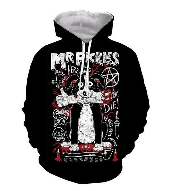Nova forma fresca camisola Hoodies 3D Imprimir Mens Womens Casual filme de desenhos animados Mr. Pickles Hot Style Streetwear Roupas XLM015