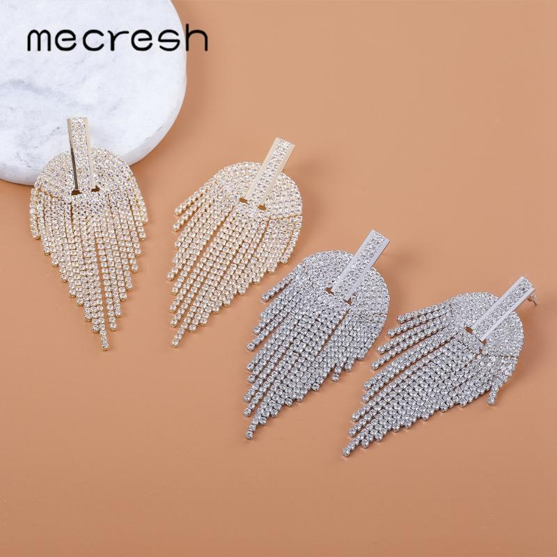 Mecresh Rhinestone Leaf Tassel Earrings Bridal Wedding Jewelry Silver Gold Color Long Dangle Earrings for Prom Party MEH1692