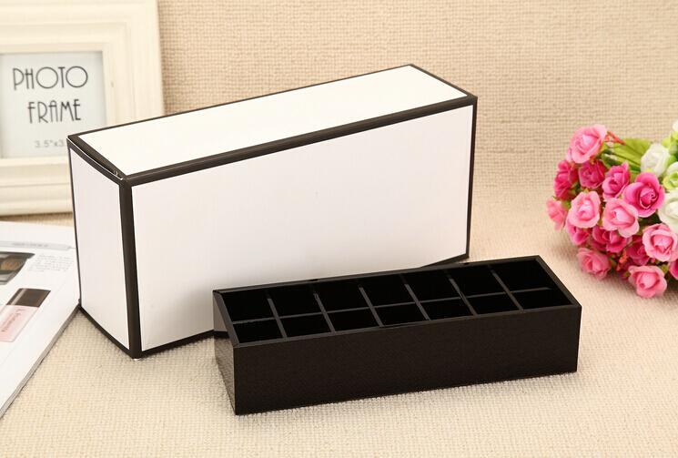 la moda de lujo 14 cuadrículas negro acrílico barras de labios de almacenamiento titular de cepillo de maquillaje caso de almacenamiento de joyería de regalo Organizador VIP con la caja famosa de la moda
