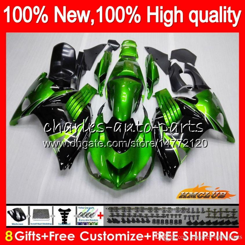 Iniezione per Kawasaki ZX 14R ZZR1400 ZX14R 06 07 08 09 10 11 49HC.0 ZZR1400 ZX14R 2006 2007 2008 2009 2010 2011 OEM carenatura verde nero