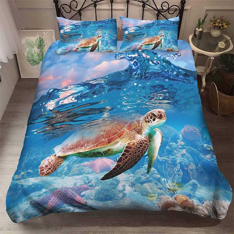 Marine Life Turtle Jellyfish 3D Bedding Set Children Room Decor Duvet Covers Pillowcases Comforter Bedclothes Neptune Bed Linen