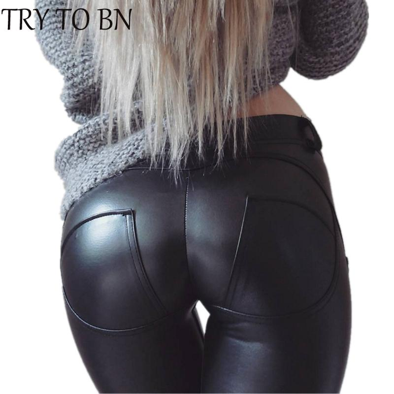 TENTE BN B PU Couro cintura baixa Leggings Mulheres Sexy Hip Push Up Calças Legging Jegging Gothic Leggins Jeggings Y200328