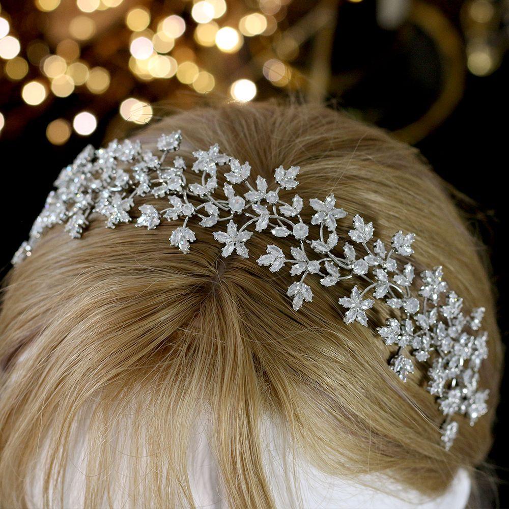 Luxus Brautkrone Haarreif Mode Brautkranz Hochzeit Kopfbedeckung mit Zirkonia Haarschmuck Frauen Softkopfschmuck
