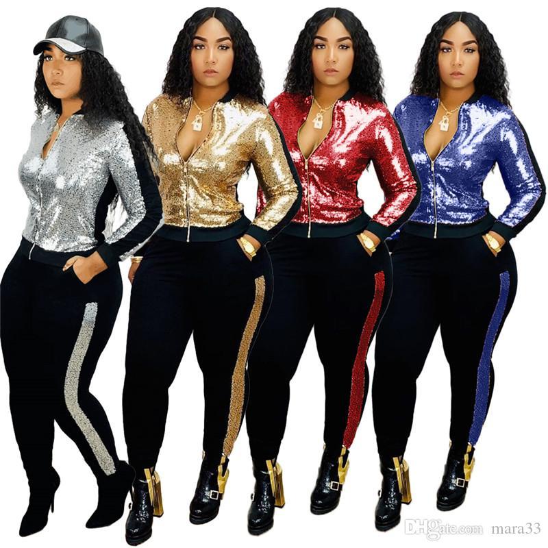 Kadınlar Payetler artı boyutu 2 parçalı set seksi kulüp panelli Ceket pantolon eşofman Hırka kazak tozluk kıyafetler dış giyim bodysuits 1998