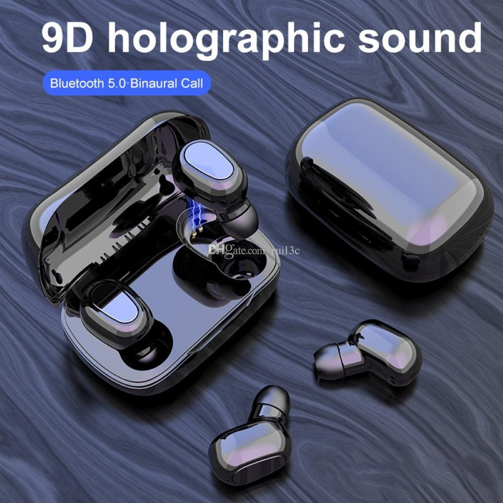 2020 NOVO TWS sem fio Bluetooth 5.0 Esportes Earbuds Fones Stereo Music Headset 350mAh PowerBank Headphone