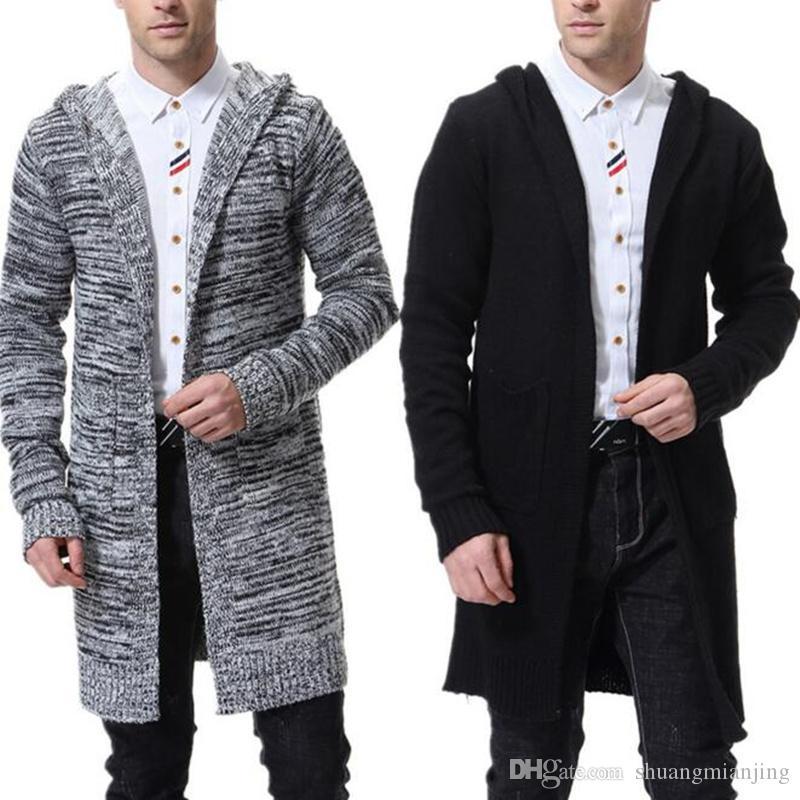 Ocasional de la capa de Cardigan Otoño 2019 suéteres de los hombres de los nuevos hombres suéter de punto de color sólido de manga larga Chaqueta de punto prendas de vestir exteriores casaco masculino