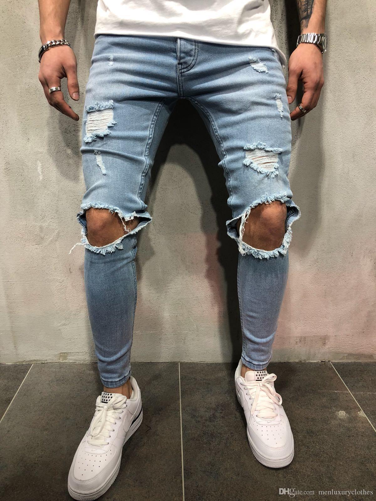 Oi Street Skate Buracos Designer Jeans Mens Slim Fit Adolescente Menino Hiphop Rasgado Calças de Jean