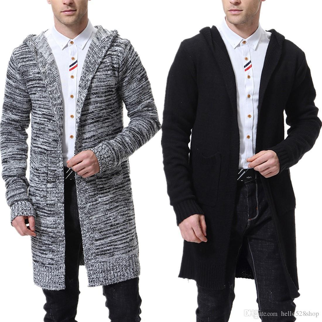 Erkekler Kapşonlu Triko Örme Hırka Triko ceketler İnce Uzun Dış Giyim Moda için Hafif İnce