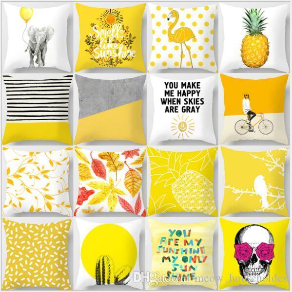 Yastık Kılıfı Sarı Geometrik Ananas Glitter Polyester Kanepe Dekoratif Yastık Kapak Ev Dekor için 45x45 cm Sarı Şeftali Kadife Yastık