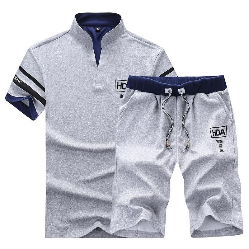 Men Sweat Suits Brand Clothing Casual Suit Men Summer Sets Tracksuits Stand Collars Streetwar Tops Tees+Shorts Fashion Mens Set CX200609