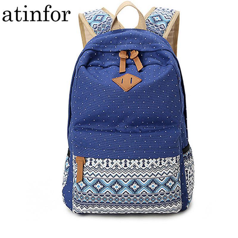 Sacs d'école vintage pour les adolescents filles cartable grande capacité dame toile impression de points à dos sac à dos sac à dos sac à dos Y190530
