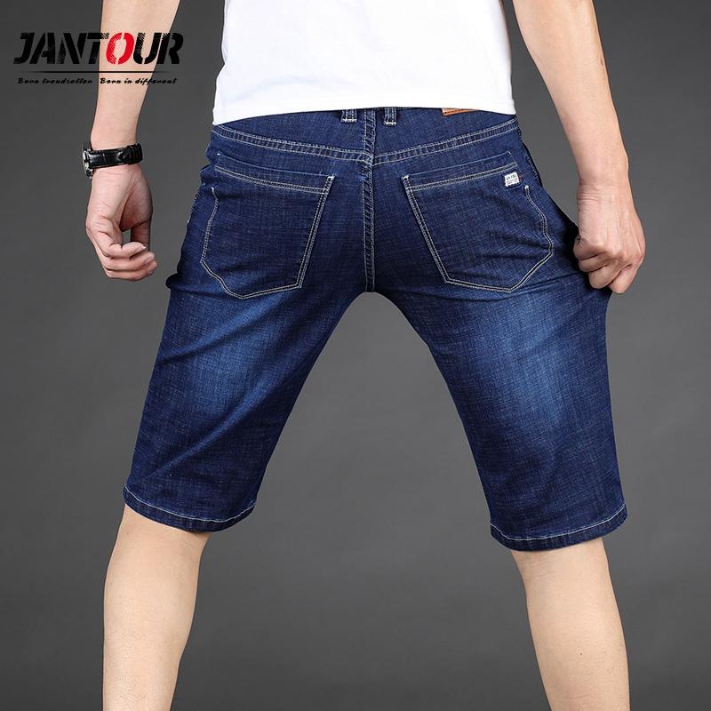 Jantour Big Size 40 42 44 46 Summer New Men Business Denim Shorts Fashion Casual Stretch Slim Blue Thin Short Jeans Male