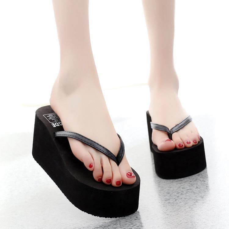 Вьетнамки Тапочки Женская обувь Пляж клинья Тапочки Обувь Женщина Крытый Платформа Повседневный Вьетнамки