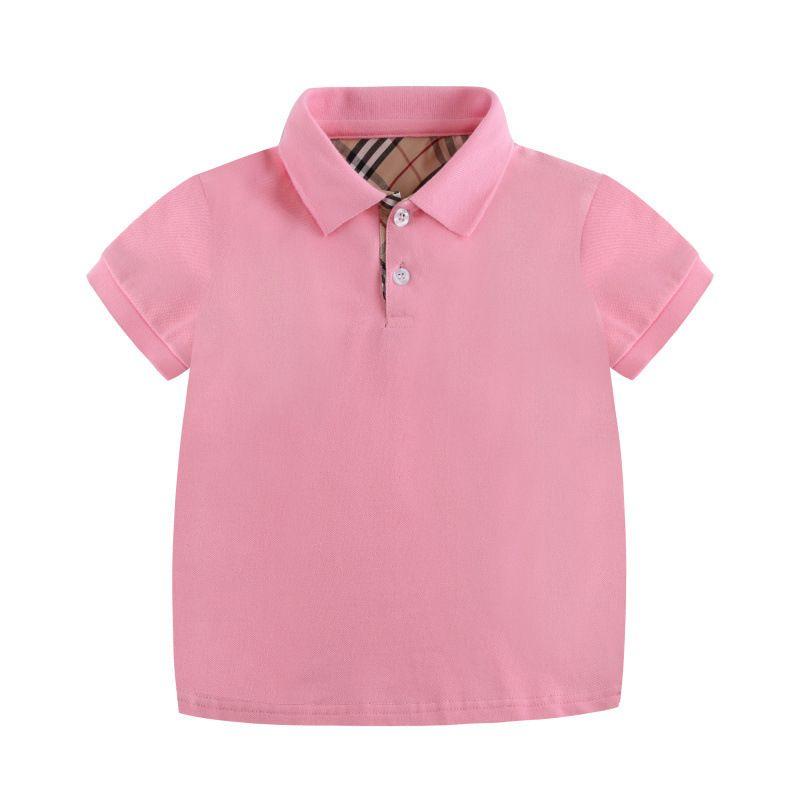 Boy Shirts Personalidade Turn-Down Collar Moda rosa respirável Verão camisas de algodão de manga curta T-Merdas para o presente