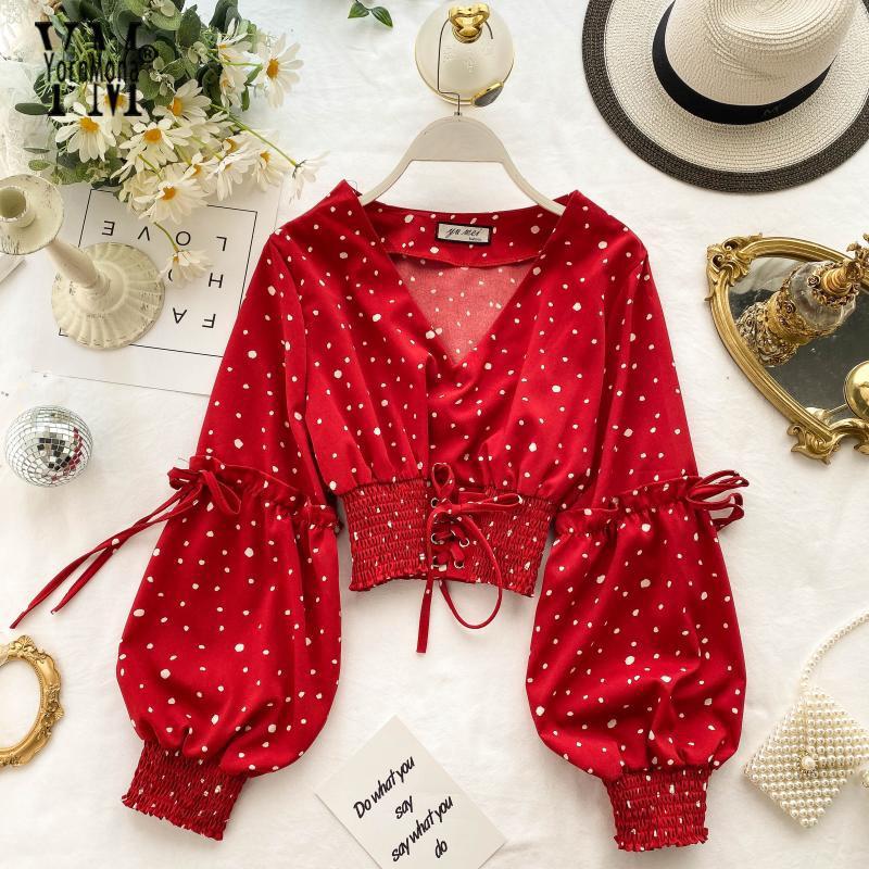 YornMona Chic Polka Dot Blusa Mulheres longo Puff luva Cortar Tops elegante cintura elástica atadura Top Blusas
