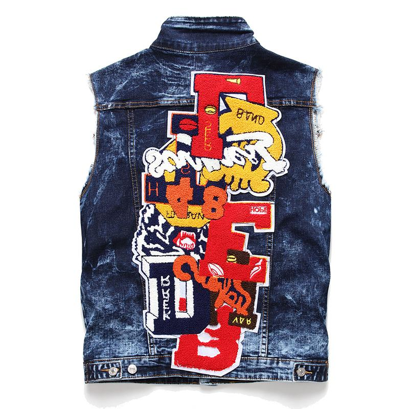 2020 Men's Denim Vest Cotton Sleeveless Jackets Blue Casual Male Washed Blue Embroidery Badge Cowboy Waistcoat Fashion Streetwear