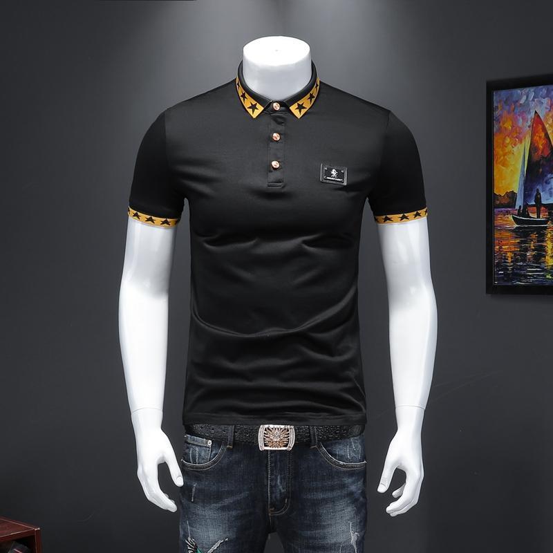 2020 nouveau T-shirt manches courtes de robe d'été britannique broderie européenne de la mode de la station de deux hommes en coton mercerisé POLO