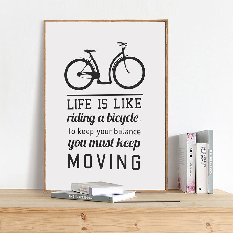 Nordic Art Print Wall Pictures Life Is Like Riding A Bicycle Inspiration Quote Canvas Poster Modern Home Decoration