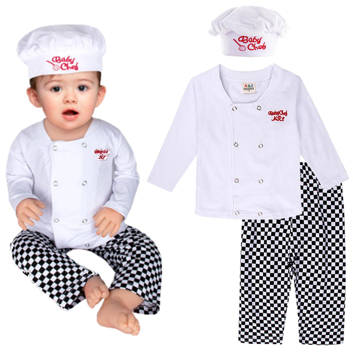 3PCS Baby Boy Girl Cook Chef Outfit Costume Set Top Shirt Pants Hat Halloween
