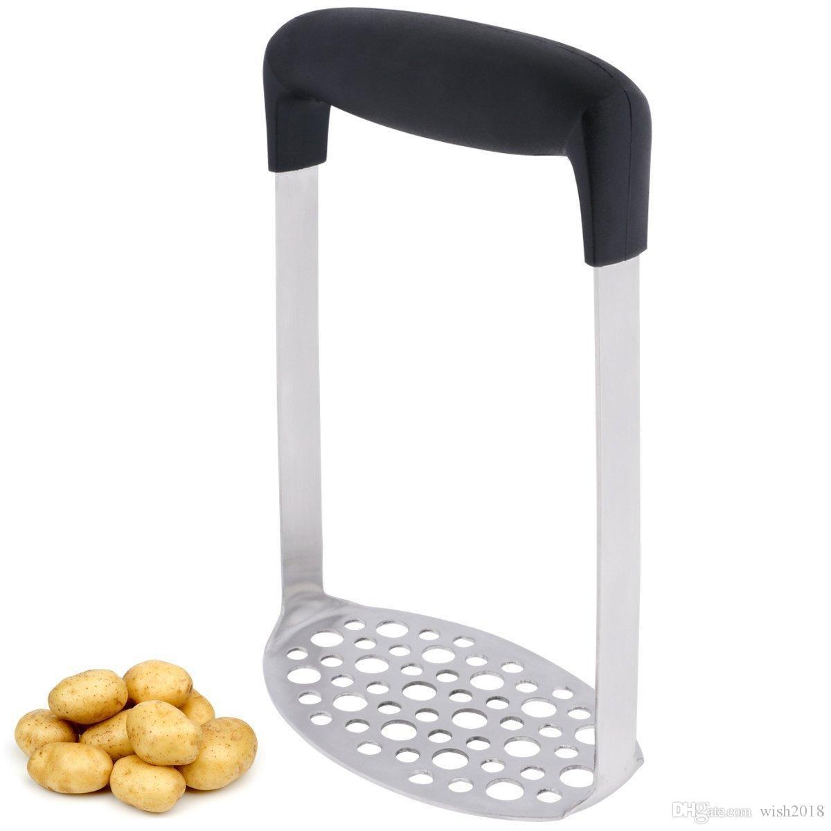 Máquina trituradora de patatas de acero inoxidable con mango ancho y ergonómico horizontal para puré de papas suave