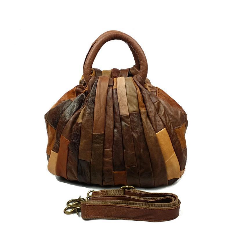 Wholesale Womens Casual Vintage Handbag Genuine Leather Tote Designer Shoulder Bag Crossbody Shopping Bags (Brown Gray)