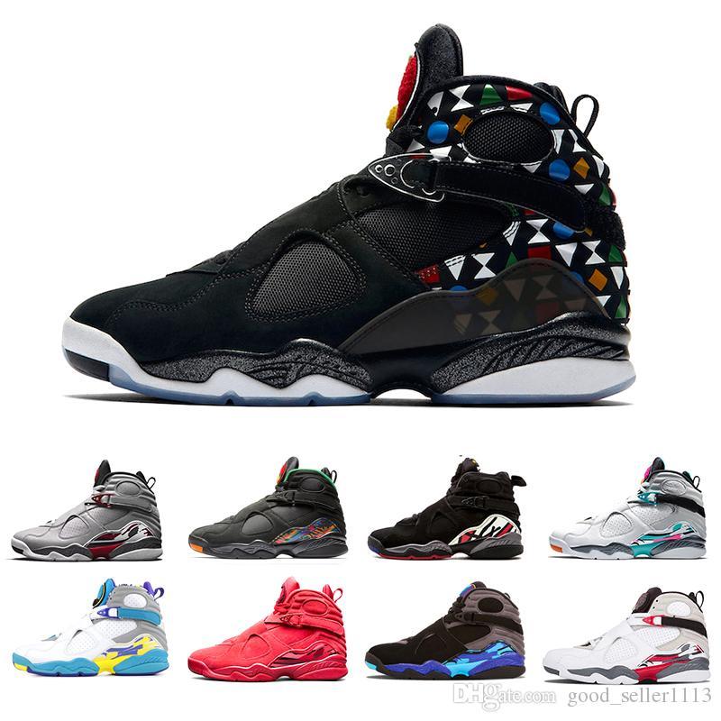 Nike aire Jordan retro 8 Praia do Sul Branco Aqua Raid Vermelho 8 VII 8 s mens sapatos de basquete dia dos Namorados cromo countdown pack casual outdoor sports sneakers
