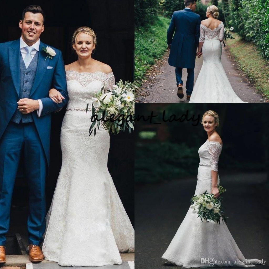 Boemia sirena abiti da sposa con mezza manica 2018 Lusso cinghia in rilievo A spalle tromba Country Garden nuziale Boho abito da sposa