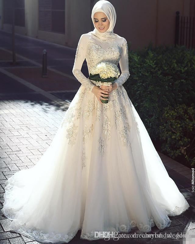 2018 High Neck Lace Muslim Wedding Dresses Long Sleeve Appliques Country Style Bridal Gown Sweep Train For Saudi Arabic Custom Made
