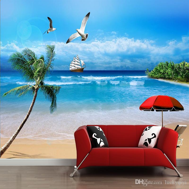 2m * 1.5m의 5D 입체 벽지 벽화 TV 벽 레스토랑 큰 바다 푸른 하늘과 흰 구름 뷰 배경 화면