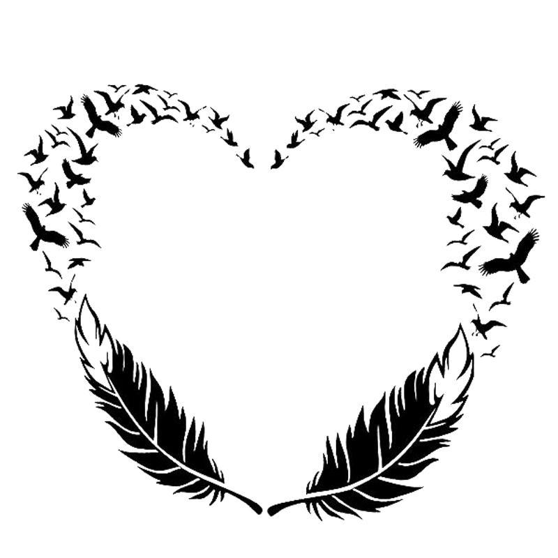 18 * 14.9cm las plumas de aves de la personalidad de la etiqueta de moda creatividad atractiva clásica de vinilo del abrigo del coche Decoración Adhesivos