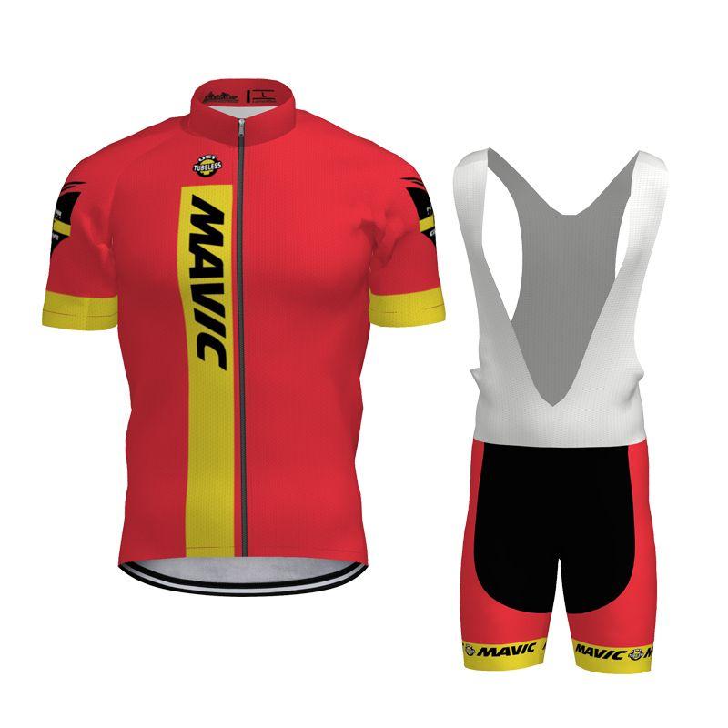 2020 Summer MAVIC equipo de ciclismo conjunto Jersey para hombre de secado rápido de la bicicleta ropa transpirable camisa de la bici Trajes GEL Pad pantalones cortos babero K121808
