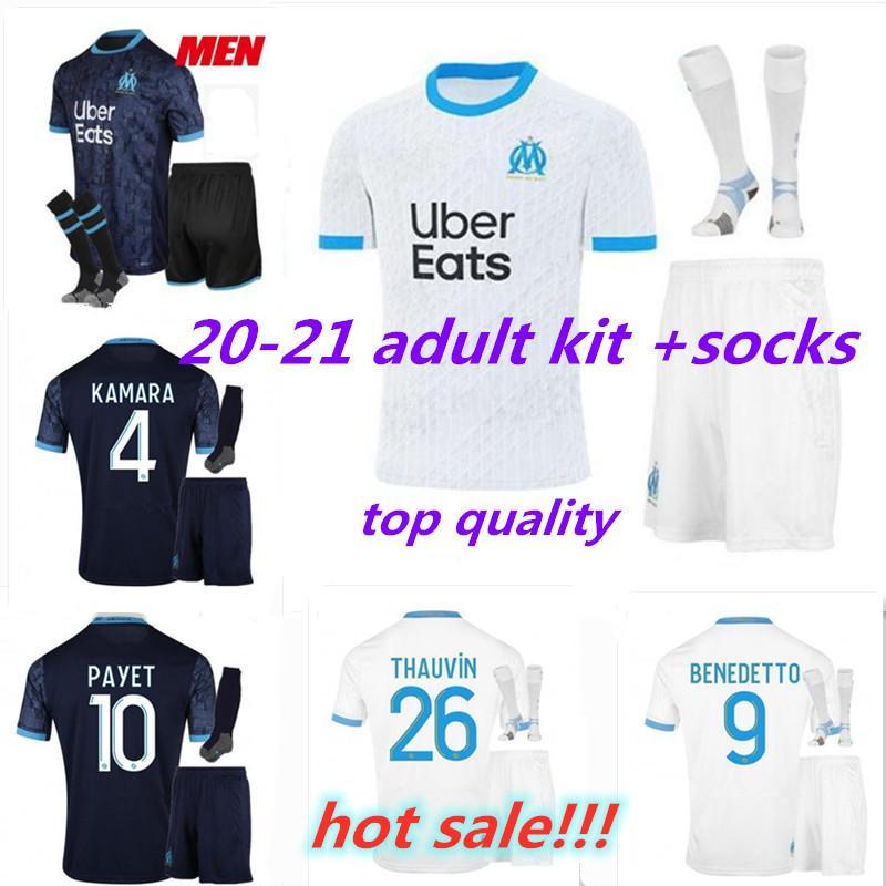 20 21 Olympique de marseille Взрослый комплект для взрослых футбол для футболки 2020 2021 Maillot de Foot Balotelli Thauvin Взрослый футбол для футбола с носками