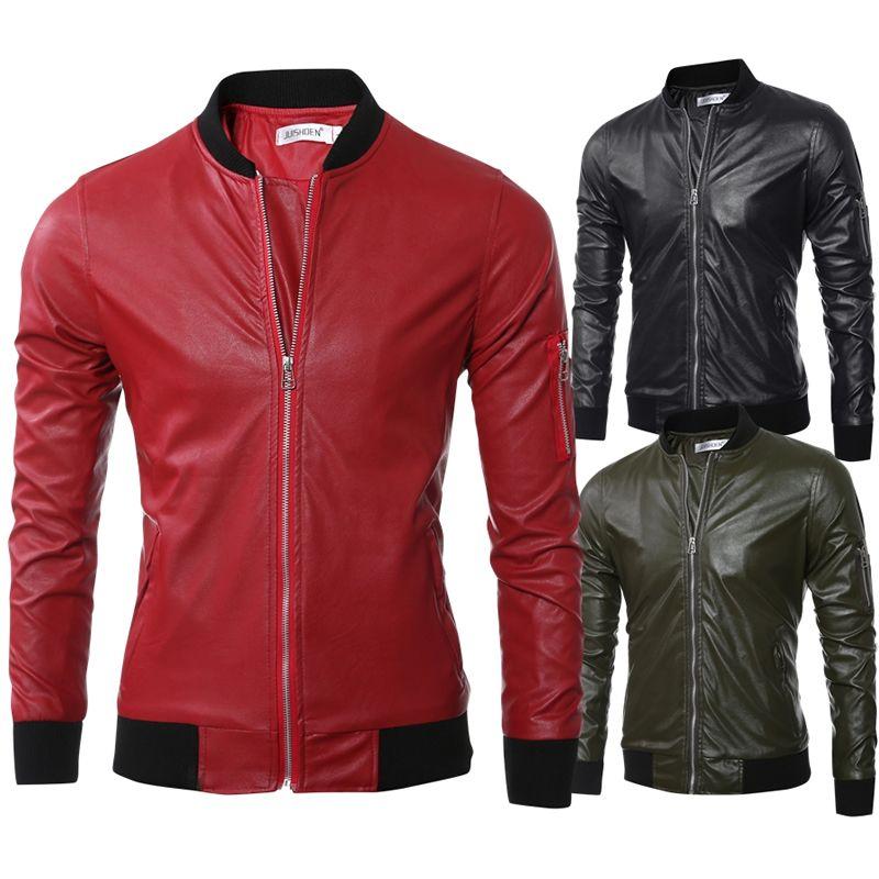 neue Bomber rote Jacke schwarz Motorrad Männer 2017 Softshell Frühling PU-Leder-Pelz-Mantel wasserdichten Winter-grün reine Farbe Herbst