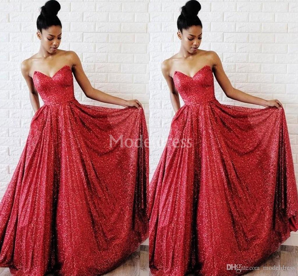 Arabric Lantejoulas Vermelho Vestidos de Baile Biling Querida Sem Mangas Até O Chão Formal Vestidos de Festa À Noite Menina Negra Sexy Vestidos De Fiesta