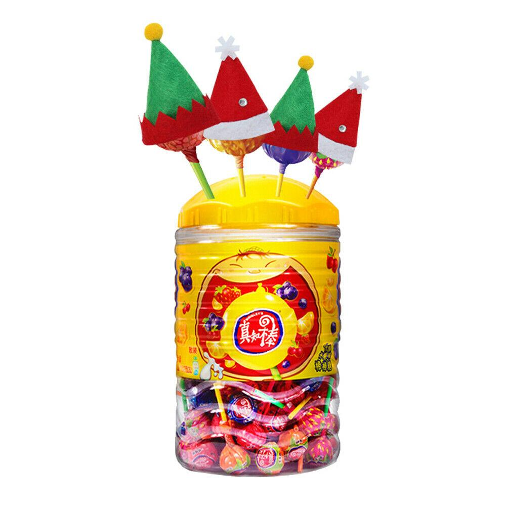 5pcs Weihnachten Lollipop Hüte Netter Mini Hut Elfs Lollipop Caps Xmas Party Decor