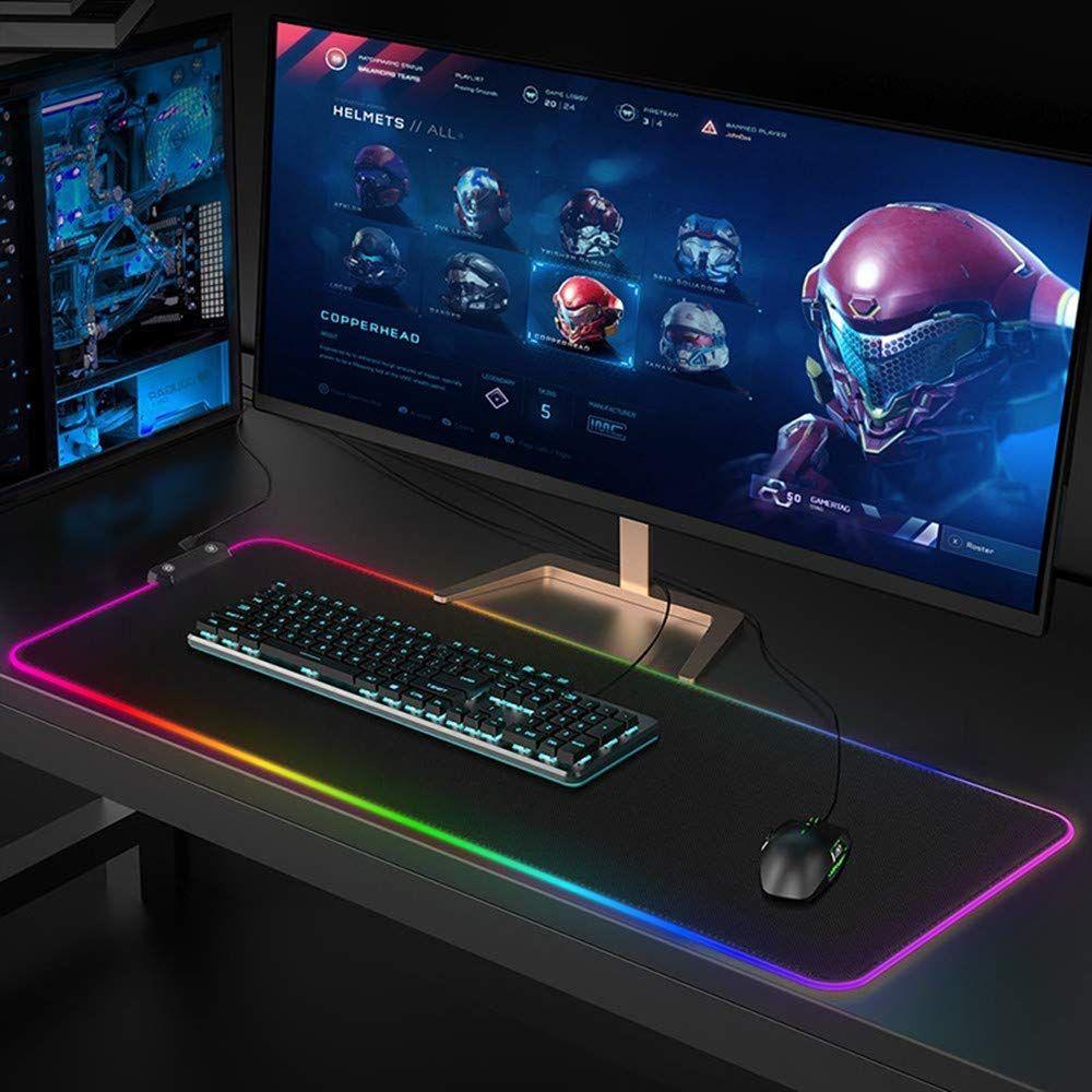 Lager Gaming Mouse Pad RGB LED Parlayan Renkli 1 Hub Port Büyük Gamer Mousepad Kaymaz Masa Fareler Mat 7 Renkler PC Dizüstü Bilgisayar (80 * 30 * 4mm)
