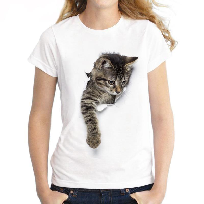 S-3XL 2020 Женщины 3D кот печати белый мягкий Повседневный Lady Футболка Лето с коротким рукавом Круглый шеи Повседневный Дешевые одежды Top Femme
