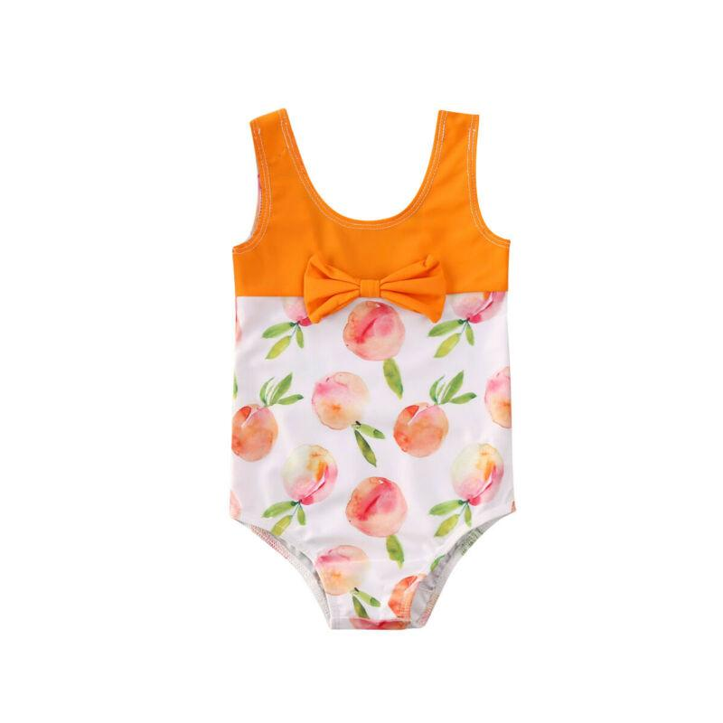 Toddler Kid Baby Girls Bow Fruits Print Summer Swimwear Bow Bikini Swimsuit Swimming Clothes Gift One Piece Holiday Clothing
