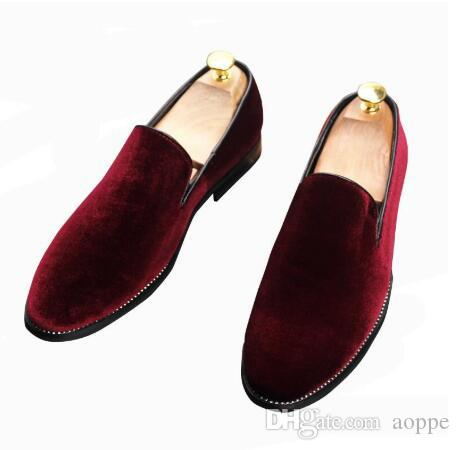 New mens velvet dress shoes loafers pointed wedding casual shoes Red green black shoes
