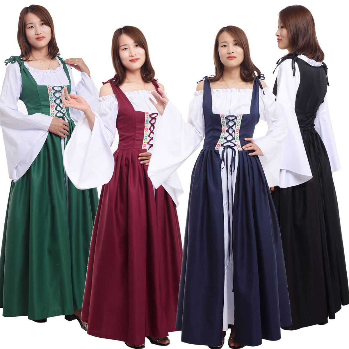UK Women Prom Dress Medieval Renaissance Dresses Halloween Party Cosplay Dresses