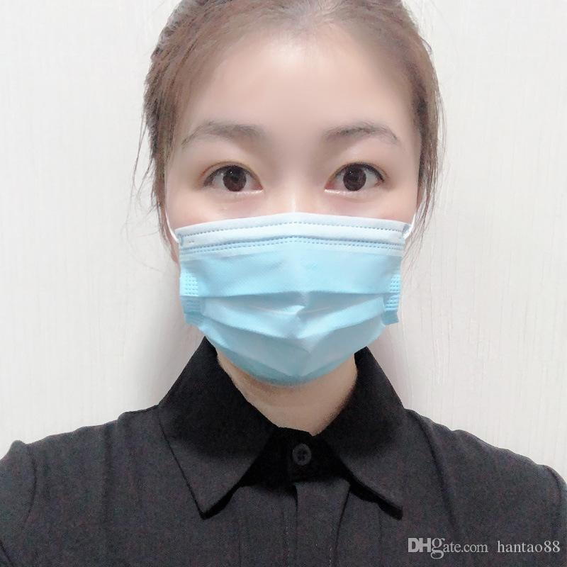 50 Pcs Masques visage à usage unique 4 couches Masques épais Accueil Utilisez confortable dans Masque stock