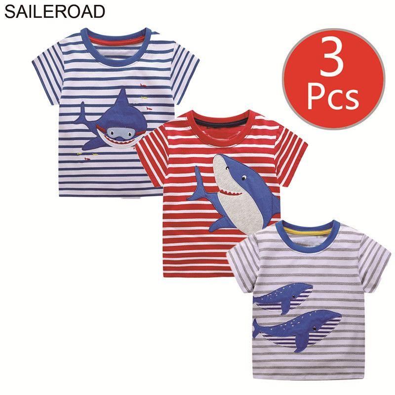 SAILEROAD 3pcs Shark Animal Print Boys Short Sleeve Tops for Baby Clothes Little Girls Tees Shirts Children's t-shirt Summer T191013